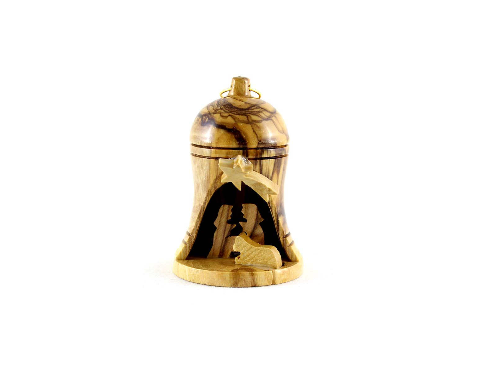 Hanging Olive Wood Bell Nativity Christmas Ornament #OR113 ...